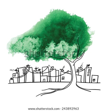Conceptual drawing. Preservation of greenery in big cities. Green watercolor tree against the industrial city. - stock vector