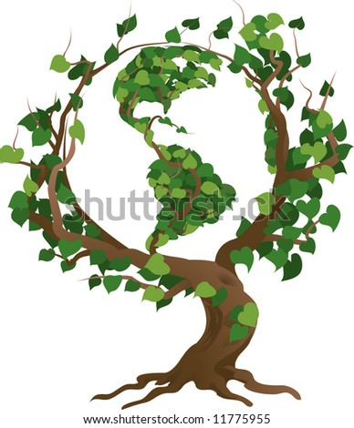 Conceptual environmental vector illustration. The globe growing in the branches of a tree. - stock vector