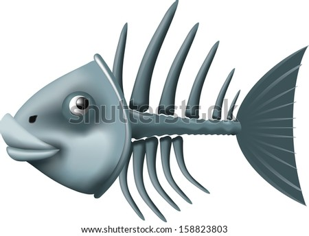 Conceptual fish skeleton isolated on white background - stock vector