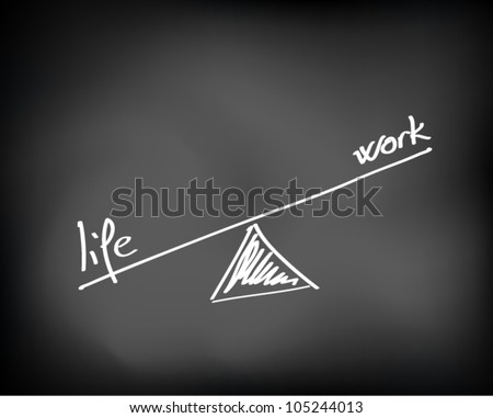 Conceptual handwritten white text chalk on black chalkboard. Life and work balance. Vector Illustration. - stock vector