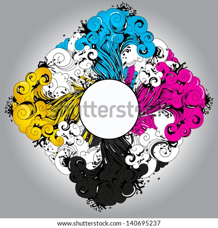 Conceptual illustration CMYK theme. Relevant for polygraphy themes. - stock vector