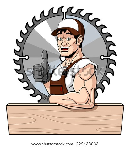 Conceptual illustration of a friendly carpenter. He is leaning on a wooden board (with space for your text) and giving a thumbs up. Behind him there is a circular saw. Isolated on white background. - stock vector