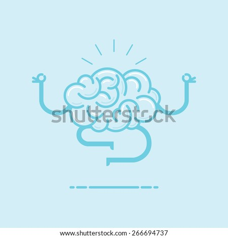 Conceptual illustration of meditation and training your brain through mindfulness. - stock vector