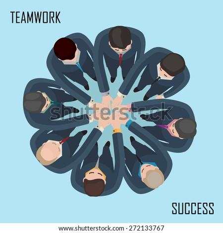 conceptual illustration of team work idea - stock vector
