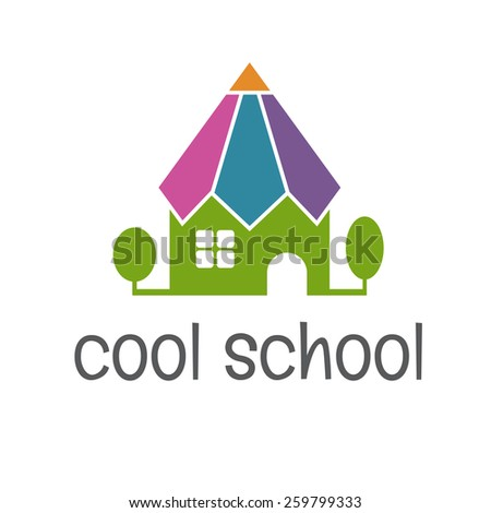 Conceptual illustration of the school in the form of a pencil. vector - stock vector