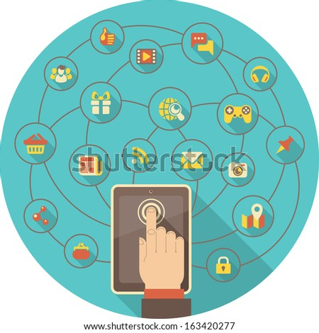Conceptual illustration of the tablet used for social interaction in the Internet  - stock vector