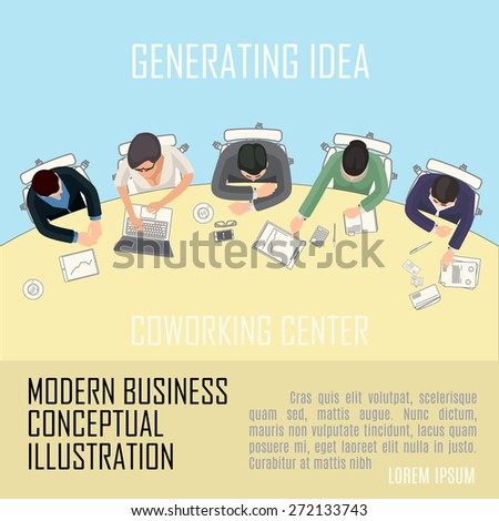 conceptual illustration with business people in office space - stock vector