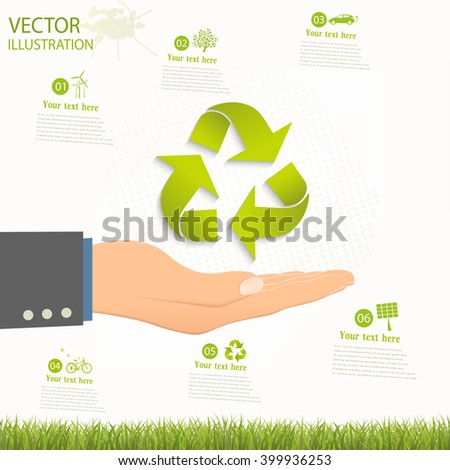 Conceptual image, help and care for recycling. Green triangular recycle symbol on an open palm. Vector illustration isolated on white background. - stock vector