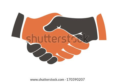Conceptual image of two people of different ethnicities shaking hands between cultural communities either during a business agreement or show of trust. Rasterized version also available in gallery - stock vector