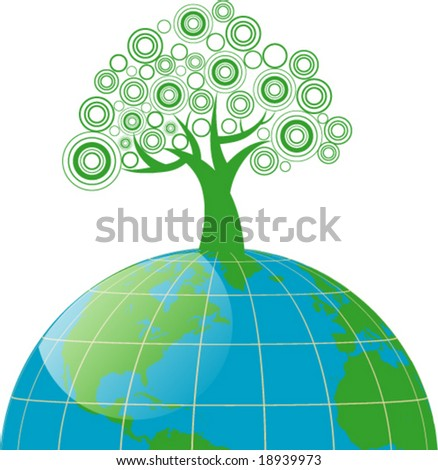 conceptual image - stylized tree on the globe - stock vector