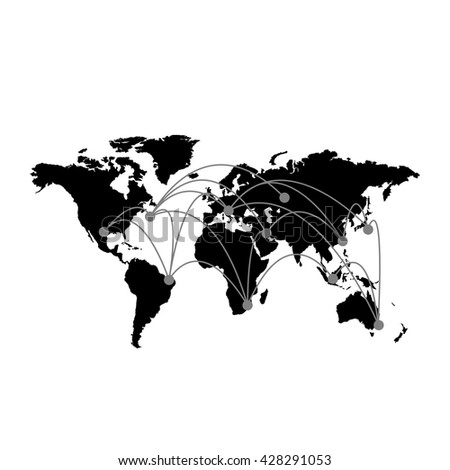Conceptual infographic worldwide connection map chart | modern flat design illustration of infographics elements black on white background - stock vector