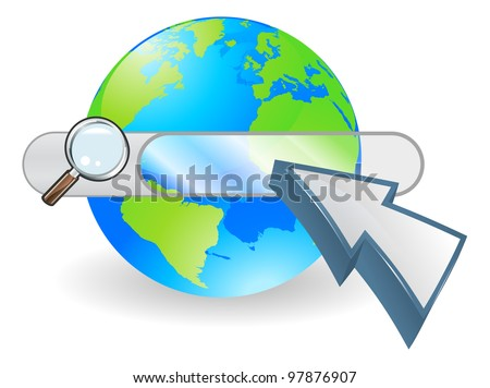 Conceptual internet illustration with search bar over world globe and arrow cursor - stock vector