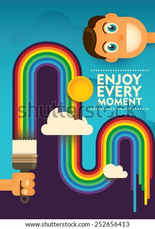 Conceptual lifestyle poster with rainbow. Vector illustration. - stock vector