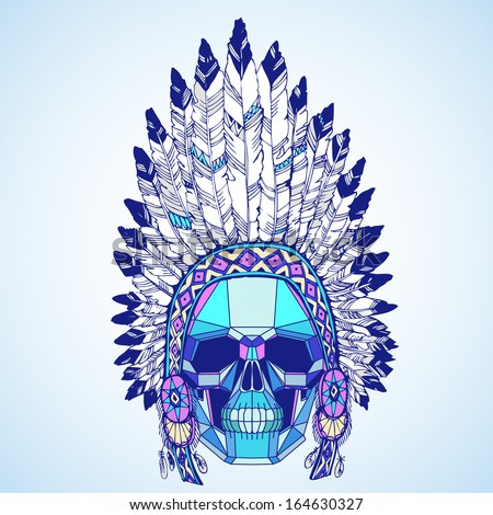 Conceptual polygonal human skull in native american indian chief headdress. Vector illustration. - stock vector