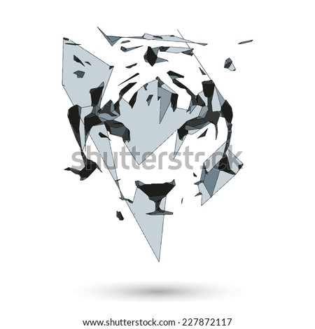 Conceptual polygonal tiger. Abstract vector Illustration, low poly style. Stylized design element. Geometric hipster illustration.Logo design. - stock vector