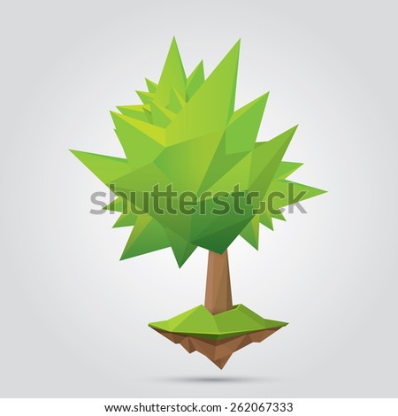 Conceptual polygonal tree. Abstract vector Illustration, low poly style. Stylized design element. Background design for banner, poster, flyer, cover, brochure. Logo design. - stock vector