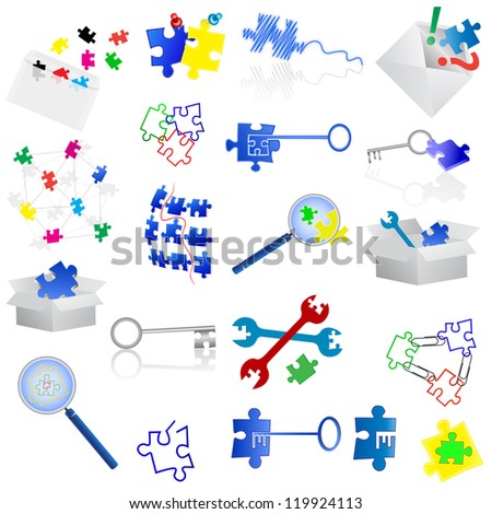 Conceptual puzzle icons and elements. - stock vector