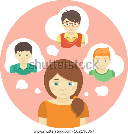 Conceptual round illustration of a girl thinking about several boys - stock vector