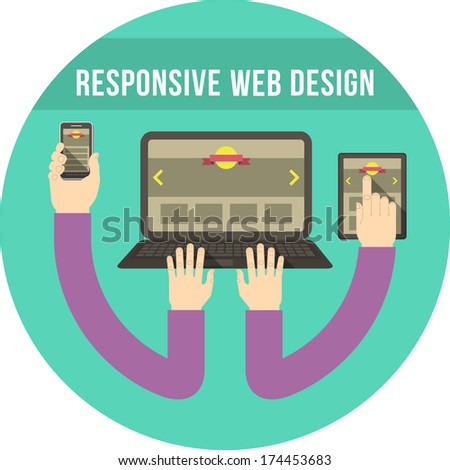 Conceptual round illustration of responsive web design with laptop, tablet and smart phone connected with hands - stock vector