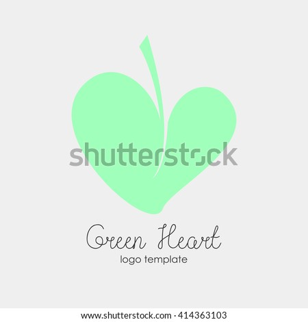 Conceptual simple flat green leaf in a form of a heart isolated on a white. Perfect icon or logo concept for vegan or vegetarian restaurant, organic food market, ecological design. - stock vector