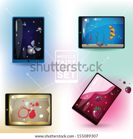 Conceptual smartphone illustration. Smartphone or tablet as an various entertaunment objects. Can be used also as an app icons. EPS10 - stock vector