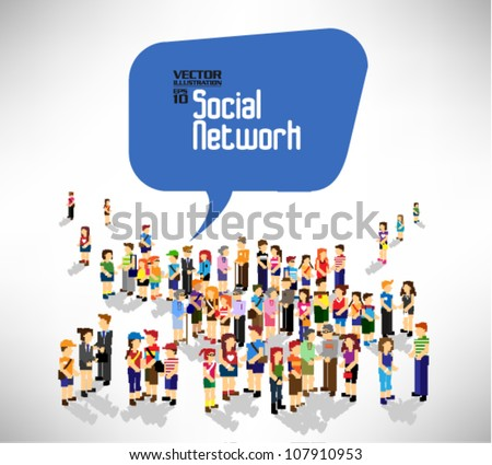 conceptual social network with many people icon vector design - stock vector