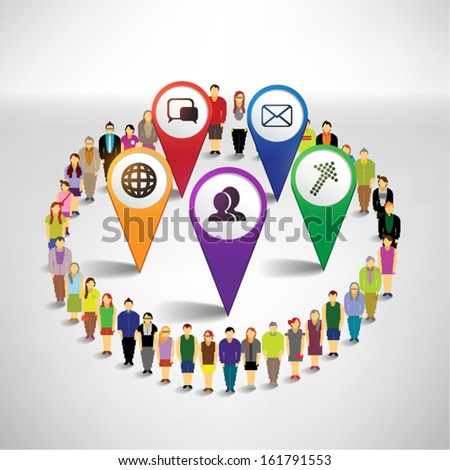 Conceptual social networking icon with people vector design - stock vector