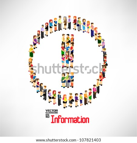 conceptual solution symbol formed by a large group of person vector design - stock vector