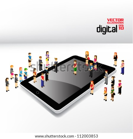 conceptual tablet and people icon vector design - stock vector