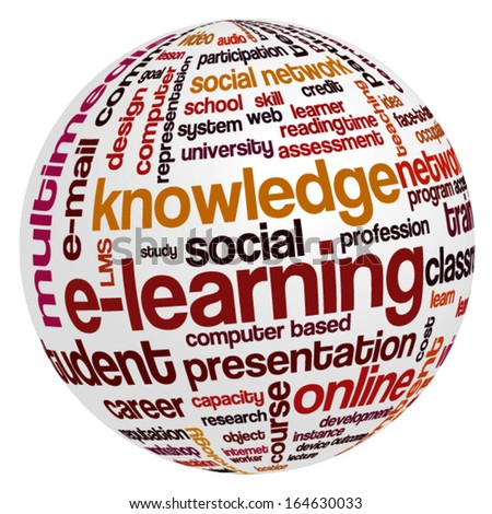 Conceptual tag cloud containing words related to distance learning, knowledge, distance education and e-learning.  - stock vector