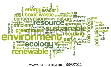 Conceptual tag cloud containing words related to ecology, environment, pollution, renewable resources, recycling, conservation, efficiency... - stock vector
