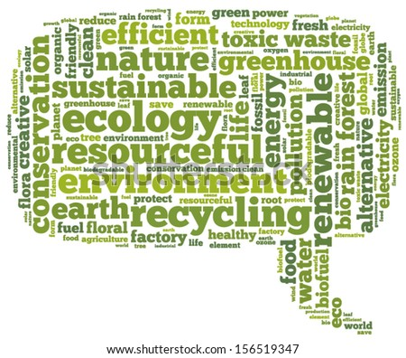 Conceptual tag cloud containing words related to ecology, environment, pollution, renewable resources, recycling, conservation, efficiency, pointing right - stock vector