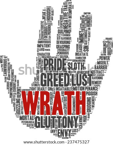 Conceptual tag cloud containing words related to seven deadly sins: pride, sloth, wrath, envy, lust, gluttony and greed in shape of a hand - stock vector