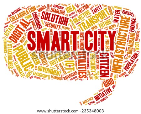 Conceptual tag cloud containing words related to smart city, digital city, infrastructure, ICT, efficiency, energy, sustainability, development and other ICT related terms - stock vector