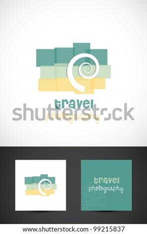 Conceptual travel photography icon such logo, vector design - stock vector