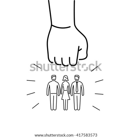 Conceptual vector aggressive campaign strategy icon of people group pushing down by hand fist | flat design marketing and business linear illustration and infographic concept black on white background - stock vector