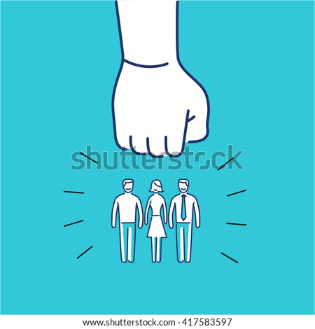 Conceptual vector aggressive campaign strategy icon of people group pushing down by hand fist | modern flat design marketing and business linear illustration and infographic concept on blue background - stock vector