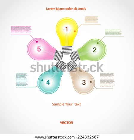 Conceptual vector icon, a five light bulb for diagram infographic  business project, workflow and other Your variant - stock vector