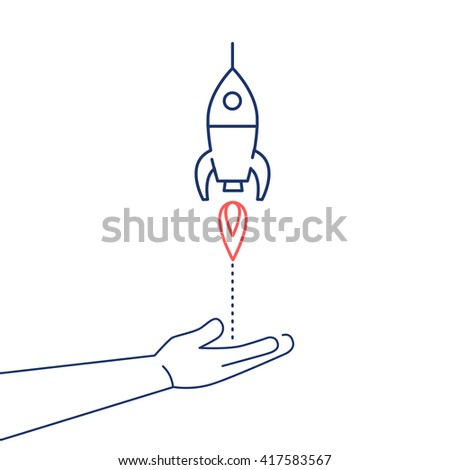 Conceptual vector icon of campaign or project launch rocket starting from open hand palm | flat design business linear illustration and infographic concept red and blue on white background - stock vector