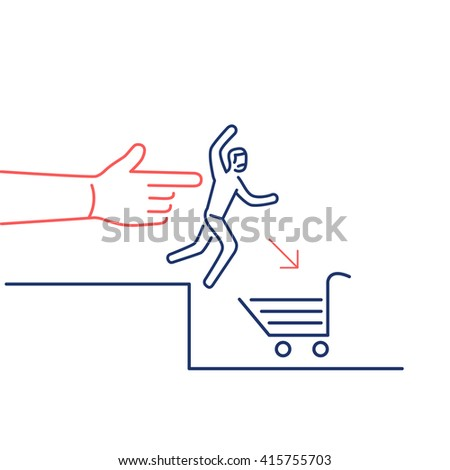 Conceptual vector icon of push marketing communication and strategy with hand pushing customer to shopping basket | flat design business illustration and infographic red and blue on white background - stock vector