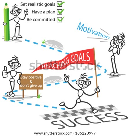 Conceptual vector illustration of a stick man on his path to reaching goals successfully.  - stock vector
