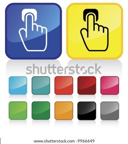 Conceptual vector illustration of hand index finger pointing button web2.0 - check my gallery for more. proposed colors - stock vector