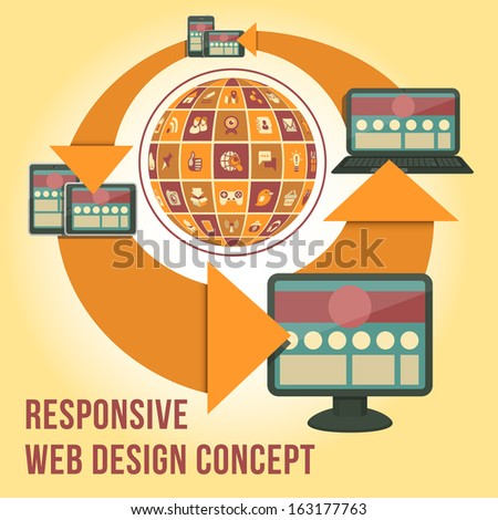 Conceptual vector illustration of responsive interface design with computer, laptop, tablet, smart phone and social networking icons in the form of globe.  - stock vector