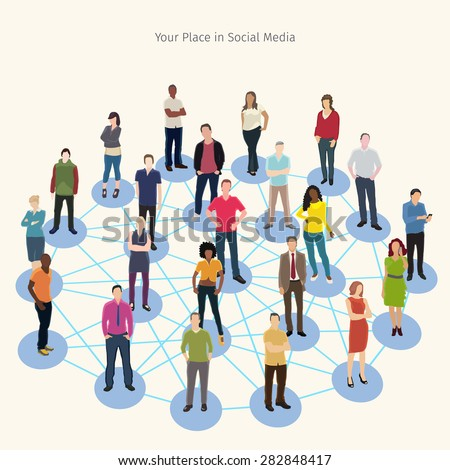 conceptual vector illustration with group of people connected to each other - stock vector