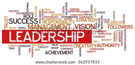 Conceptual vector of cloud containing words related to leadership, business, innovation, success.  - stock vector