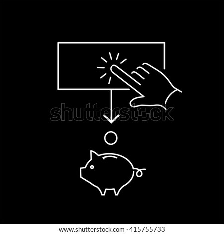 Conceptual vector of ppc campaign pay per click icon with hand tapping on button and coin falling in to piggy money bank | flat design business illustration and infographic white on black background - stock vector