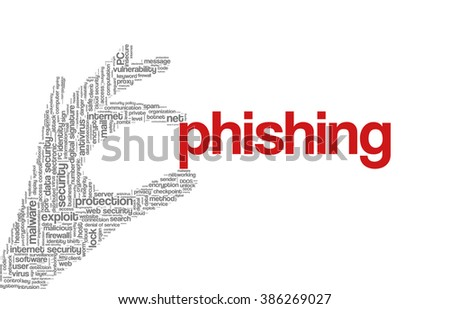 """Conceptual vector of tag cloud containing words related to internet, data, web and network security, data protection, security policy and privacy; in shape of hand holding word """"phishing"""" - stock vector"""