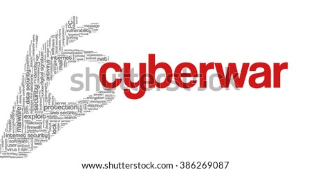"""Conceptual vector of tag cloud containing words related to internet, data, web and network security, data protection, security policy and privacy; in shape of hand holding word """"cyberwar"""" - stock vector"""