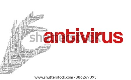 """Conceptual vector of tag cloud containing words related to internet, data, web and network security, data protection, security policy and privacy; in shape of hand holding word """"antivirus"""" - stock vector"""