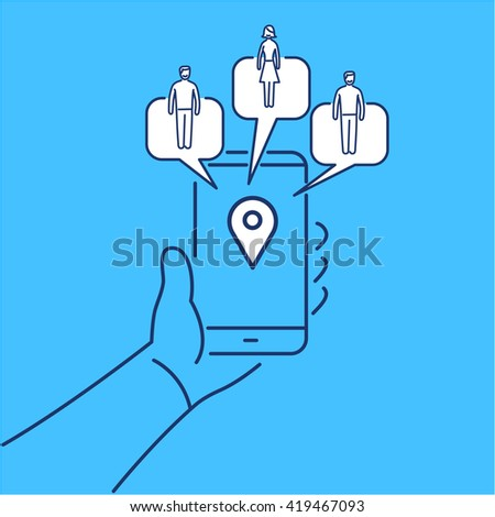 Conceptual vector solomo or social local mobile icon of smartphone in hand communicating with local social people groups. flat marketing and business illustration infographic on blue background - stock vector